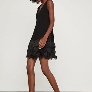 BCBG Addilyn black fringe dress